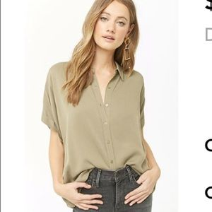 Dolman Button-Front Top (Olive)